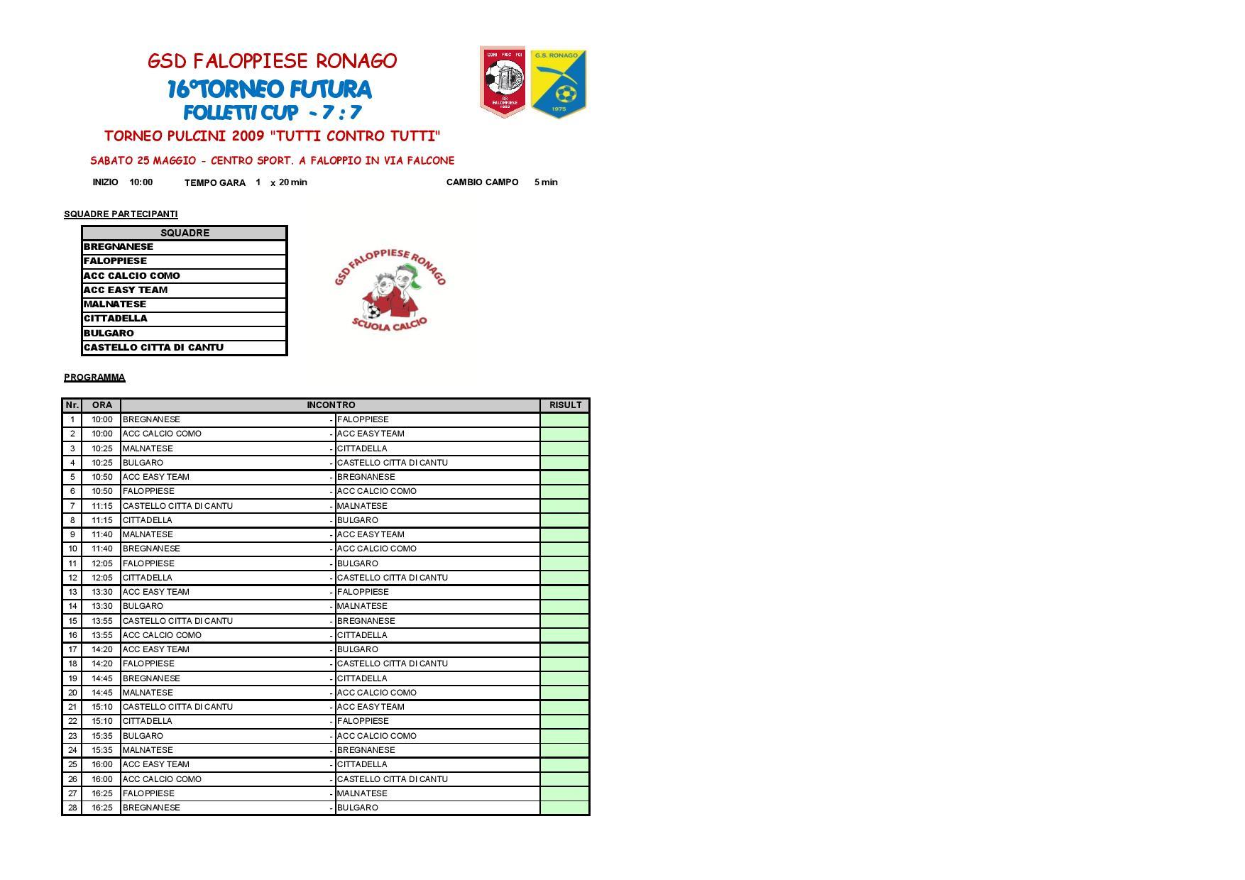 Calendario Torneo A 7 Squadre.Torneo Futura 2019 G S D Faloppiese